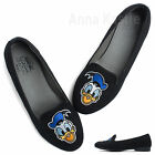 AnnaKastle New Womens Donald Duck Embroidered Felt Loafer Black US 5 6 7 8