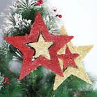 Red Gold Star Xmas Ornaments For Christmas Pentagram Pendant Party Ornaments
