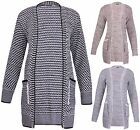 Womens Plus Size Long Sleeve Ladies Chunky Knitted Pocket Long Open Cardigan Top
