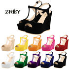 ZriEy Womens High Heels Open Toe Platform Wedge Pumps Court Velvet Leather Shoes