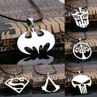 Men Boy Unisex Pendant Necklace Stainless Steel Choker Leather Cord Jewelry Gift