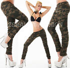 SEXY JEANS RÖHRE CAMOUFLAGE MILITARY* ARMY CRASH LOOK ZIP NIETEN XS-XL