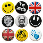 "1"" (25mm) Set of 9 Cool Button Badge Pins /Smileys/Skulls/Union Jack - High Qual"