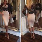 Women's Long Sleeve Sexy Black Lace White Bodycon Cocktail Evening Party Dress