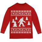 Sasquatch Ugly Christmas Sweater Red Youth Long Sleeve T-Shirt