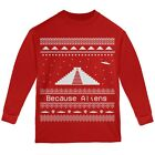 Ancient Aliens Ugly Christmas Sweater Red Youth Long Sleeve T-Shirt