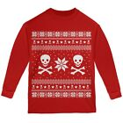 Skull & Crossbones Ugly Christmas Sweater Red Youth Long Sleeve T-Shirt