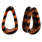 PAIR ORGANIC Areng & Sawo Wood Striped Double Flared Hollow Tunnel Flesh Flare