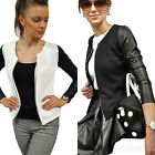 Womens PU Leather Jacket Long Sleeve Zip Blazer Lady Motorcycle Coat winter Hot
