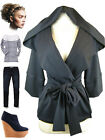 Comfy CHIC DARK NAVY HOODED Wrap Across SLOUCHY Cardigan JACKET w/ Attached Belt