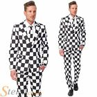 Mens Suitmeister Black White Checked Fancy Dress Costume Suit Adult Outfit