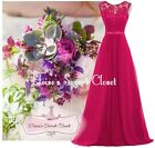 NWT GRACE Fuchsia Pink Lace Chiffon Maxi Bridesmaid Ballgown Dress Sizes 6 -18
