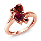 1.90 Ct Heart Shape Red Created Ruby Red Garnet 18K Rose Gold Plated Silver Ring