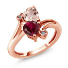 1.70 Ct Red Created Ruby Rose Rose Quartz 18K Rose Gold Plated Silver Ring