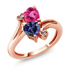 1.41 Ct Heart Shape Blue Iolite Pink Created Sapphire 14K Rose Gold Ring