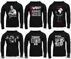 Semi Fitted Men's Black S M L XL Bodybuilding Gym Fitness Hooded Tshirt Hoody