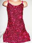 GIRLS BRIGHT PINK SEQUIN STRAPPY EVENING DISCO DANCE PARTY DRESS