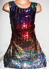 GIRLS 60s STYLE MULTI COLOUR HOLOGRAPHIC SEQUIN EVENING DANCE PARTY DRESS