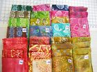 "JUST IN! BATIK cotton fabric 4 unique fat quarters ~18x22"" or 1yd flavor India"