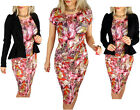 New Womens Diva Look Summer Printed Pencil Bodycon Celeb Party Midi Dress