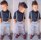 2PCS Kids Baby Boy Long Sleeves Shirt Top + Pants Suspenders Clothes Outfit 2-6Y