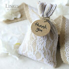 "10/50 Burlap Lace Gift Bags w/ Kraft Tags 4x6""/10x15cm Rustic Wedding Favor Bags"