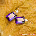 Pure 18k 14k Gold Pearl Lollipop Earwire Emerald Cut Purp...