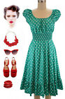 50s Style TURQUOISE & White POLKA Dot PLUS SIZE Peasant On/Off T/Shoulder Dress