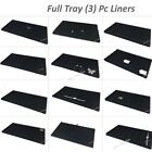 LOT OF 3 JEWELRY TRAY LINERS BLACK FLOCKED TRAY INSERTS JEWELRY DISPLAYS