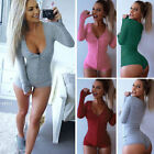 Femme Combishort Body Col V Manche Longue Slim Stretch Tops Jumpsuit Playsuit