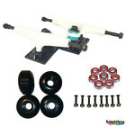Pro Skateboard Trucks KIT Set blank Wheel Bearings Hardware full 5.25 White