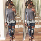 Women Lace Long Sleeve Casual Tops Blouse Shirt Ladies Loose Crochet Top