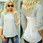 Sexy Womens Ladies Patchwork Chiffon Long Sleeve Loose T-Shirt Blouse Top Tee