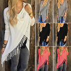 Womens Tassel Fringe Shawl Hem Blouse Ladies Cardigans Top Dress Casual T-shirt