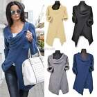 Women Asymmetric Cardigan Knitted Coat Pullover Sweater Jumper Poncho Wrap Tops