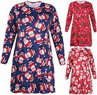 Womens Plus Size Christmas Tree Printed Ladies Long Sleeve Flare Swing Dress Top
