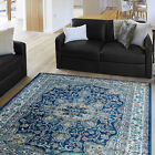 Traditional Navy-Ivory Carpet Vines Floral Bordered Leaves Medallion Area Rug