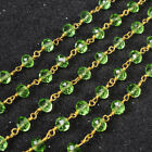 PRE-SALE 16Ft 5~6mm Green Quartz Rondelle Rosary Beaded Chain Wire Wrapped JT027