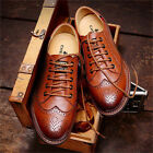 MEN'S FASHION CASUAL BROGUE LEATHER LINED DRESS SHOES LACE UP WINGTIP OXFORDS
