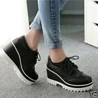 Womens Round Toe Lace Up High Platform Punk Wedge Heel Creepers Brogue Shoes