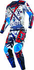Fox Racing Mens Blue/White/Red 180 Vicious Dirt Bike Jersey & Pants Kit