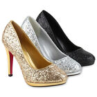 Damen High Heels Glitzer Pumps Stiletto Absatz Party Abendschuhe 78605 Modatipp
