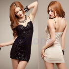 Mode Sexy Women Deep V Neck Sequins Slim Sparkle Club Party Cocktail Mini Dress