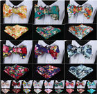 Floral Woven Men Cotton Self Bow Tie Pocket Square Handkerchief set #G3
