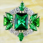 Emerald & White Gemstone Fashion Jewelry Silver Women Men Gift Ring Size 6 7 8 9