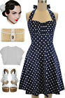 50s Style DARK NAVY BLUE with White POLKA DOTS Pinup Betty HALTER TOP Sun Dress
