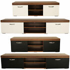 Milan TV Cabinet Wood & Black Or White High Gloss Storage Cupboard Media Unit