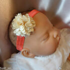 Baby Headband coral band with cream puff flower all sizes all sizes
