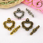 10Sets Tibetan Silver,Antiqued Gold,Bronze Heart Connectors Toggle Clasps M1409