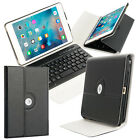 For iPad Mini 4 Leather Cover Case with Swivel Stand Bluetooth Wireless Keyboard